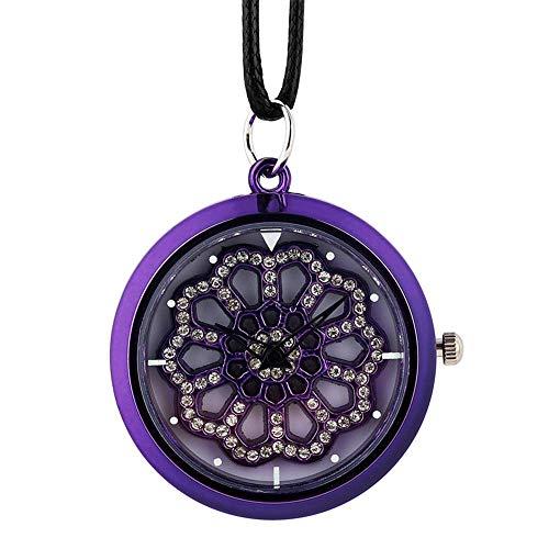 YXZQ Taschenuhr, Crystal Diamond Damen Halskette Uhr Leder Seil Quarz Hängende Uhr Top Plattenspieler Uhr Uhr für Mädchen
