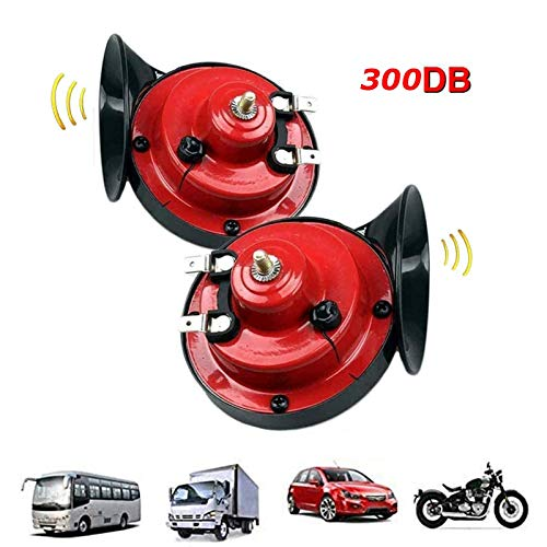 JIMENG 300DB Super Loud Train Horn for Truck Train Boat Car Air Electric Snail Single Horn, 12v Waterproof Double Horn Raging Sound Raging Sound for Car Motorcycle