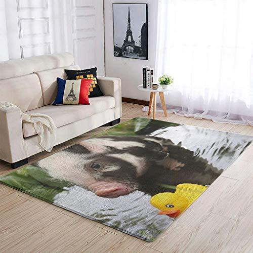 Banniyouall Nature Pig and Duck - Alfombra para interiores (122 x 183 cm), diseño de cerdo y pato, color blanco
