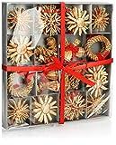 com-four® 56-teiliges Strohsterne Set - Christbaum-Schmuck - Stroh-Anhänger für den Weihnachtsbaum - natürlicher Christbaum-Behang - Weihnachtsdekoration - Ø 6 cm