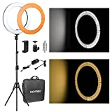 ZOMEi 14' LED Ring Light Dimmable for Video YouTube Portrait and Photography Lighting with Heavy Duty Light Stand