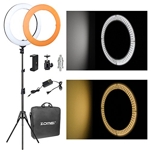 """ZOMEi 14"""" LED Ring Light Dimmable for Video YouTube Portrait and Photography Lighting with Heavy Duty Light Stand"""