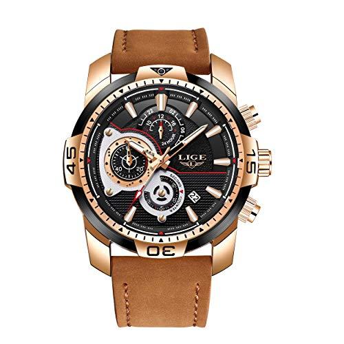 LIGE Relojes para Hombre Militar Impermeable Deporte Cuarzo Analógico Reloj Gents Cronógrafo Cuero Marrón Reloj de Pulsera