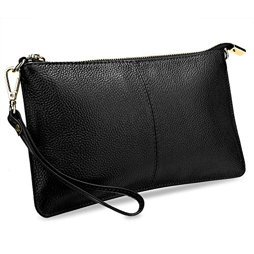 YALUXE Clutch Wristlet Women's Real Leather Large RFID Blocking Wallet with Shoulder Chain