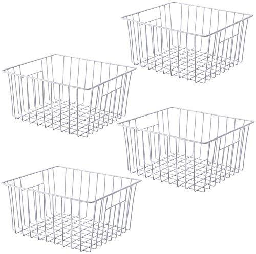 SANNO - Juego de 4 cestas de almacenamiento para congelador, con asas integradas para armarios, despensa, armarios, dormitorios
