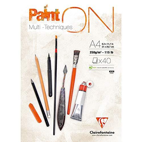 Clairefontaine 96537C PaintOn Block (250 g, 100% extra weißes Zellulosepapier mit leichter Körnung, DIN A4, 21 x 29,7 cm, geleimt, 40 Blätter, ideal für Multitechniken) extraweiß