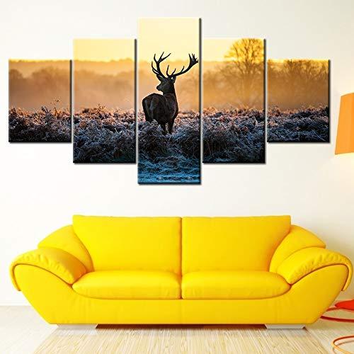 MMLFY 5 canvas foto's canvas schilderij dier Lonely reindeer Sunset 5 stuks muurkunst schilderij modulaire behang poster afdrukken woonkamer wooncultuur