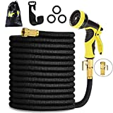 HmiL-U Garden Hose 150ft 45m Strongest Double Latex Inner Tube Prevent Leaking Magic Hosepipe with 9 Function Spray Gun+Solid Brass Fittings (Retracted Length 50ft)【2 YEARS 100% Guaranteed】(150ft)