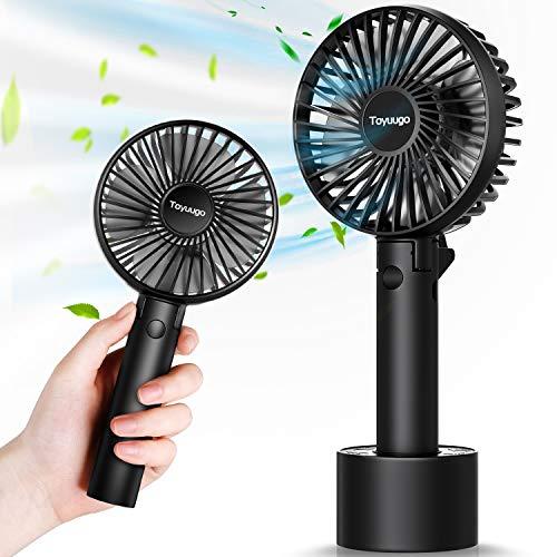 toyuugo Mini Ventilator, Handventilator mit 2600 mAh Aufladbare Batterie Elektrischer Tragbarer USB Lüfter Faltbarer Ventilator für Büro, Outdoor-Aktivitäten und Reise (Schwarz)