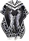 Del Mex Authentic Mexican Poncho Cobija Gaban Blanket -Black & White (Horses)