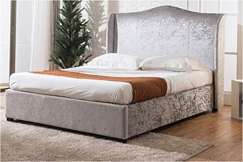 Rosdorf Park Classy Winged Back Crushed Velvet Upholstered Ottoman Storage Bed - Kingsize (5') (Silver)