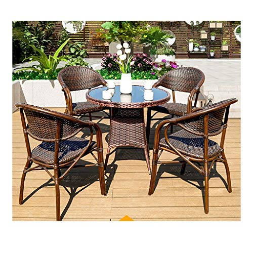 BDBT Patio Furniture Garden Table and Chairs Set Patio Rattan Dining Table Set Wicker Weave Coffee Table Patio Conversation Outdoor (4 Piece Set Table Chair)