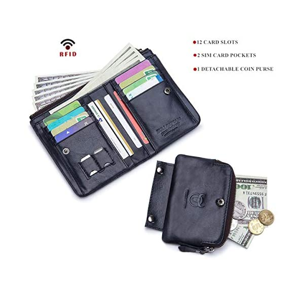 BULLCAPTAIN Rfid Antimagnetic Genuine Leather Mens Wallet with Detachable Coin Purse Bifold Wallet for Credit Cards QB-051 2