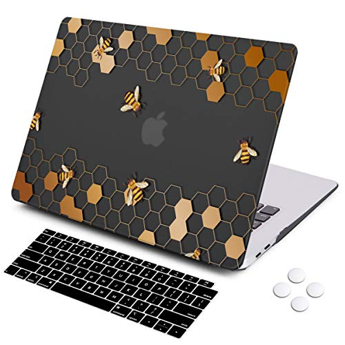 iCasso MacBook Air 13 Inch Case 2018 Release A1932,Rubber Coated Cover with Keyboard Cover Compatible Newest MacBook Air 13 Inch with Retina Display fits Touch ID (Honeycomb)
