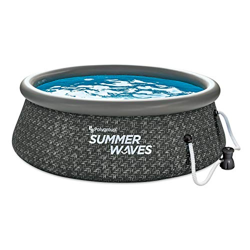 Summer Waves P1A00830A 8ft x 2.5ft Quick Set Ring Above Ground Inflatable Outdoor Swimming Pool with RX300 Filter Pump, Dark Wicker