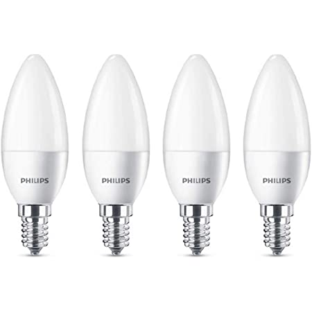 4 Pack - Philips CorePro LED Frosted Candle 5.5W (40W) E14 SES Small Edison Screw 2700k Warm White | 470 Lumen | 15000 Hours | 929001157779