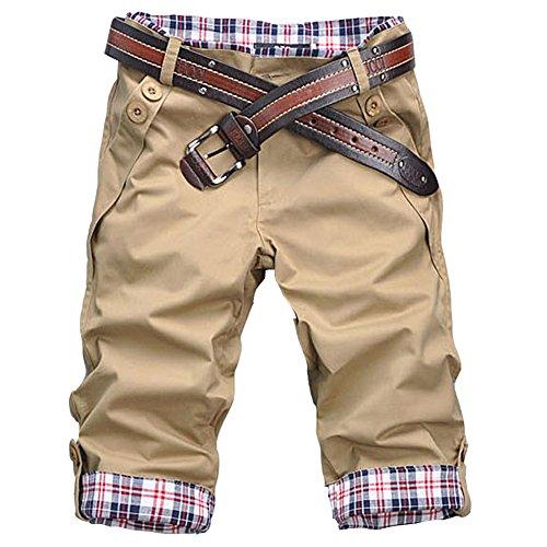 ROBO Pantalones Cortos Hombre Bermuda Casual Slim Fit Cómoda Transpir