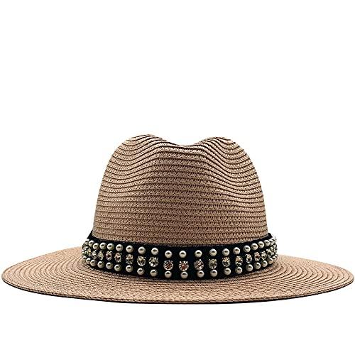 NJJX Sombrero De Panamá para Mujer, Sombreros De Verano para El Sol para Hombres, Sombrero De Paja De Playa para Niña, Gorra De Protección UV, 56-59 Cm, Color Rosa De Carne Ajustable