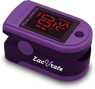 Zacurate Pro Series 500Dl Fingertip Pulse Oximeter Blood Oxygen Saturation Monitor With Silicon Cover, Batteries & Lanyard (Royal Purple)