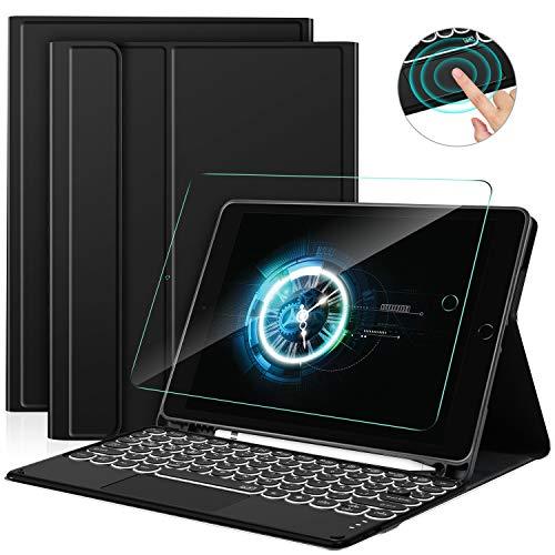 Sross Funda con Teclado para iPad 10.2 2020(8ª Gen)/iPad 10.2 2019(7ª Gen)/iPad Air 3 10.5/iPad Pro 10.5, Español Ñ Teclado con Touchpad &Protector de Pantalla, Negro