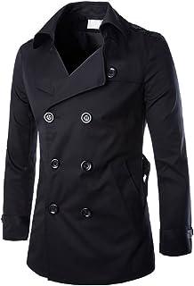 MISSMAO Men's Jackets Slim Fit Double Breasted Half Trench Coat Classic Gentleman Outwear