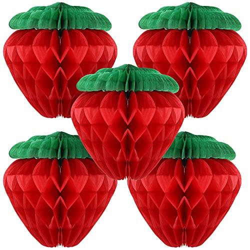 5 Bolas de Papel de Panal de Fresa de 6 Pulgadas Bolas de Fresa de Papel de Seda Decoración de Pared Colgante de Fresa de Papel de Seda para Cumpleaños Fiesta Decoración de Hogar (Rojo)