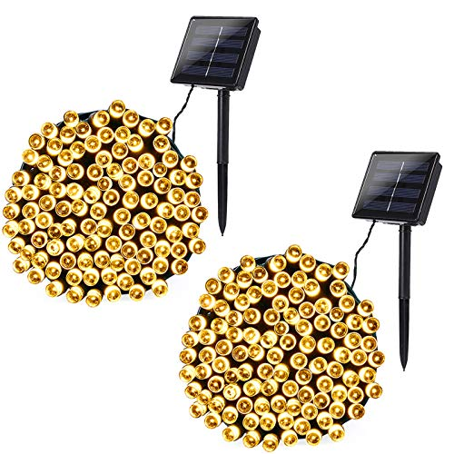 Joomer 2 Pack Solar String Lights 72ft 200 LED 8 Modes Outdoor String Lights Waterproof Solar Fairy Lights for Garden, Patio, Fence, Balcony, Outdoors (Warm White)