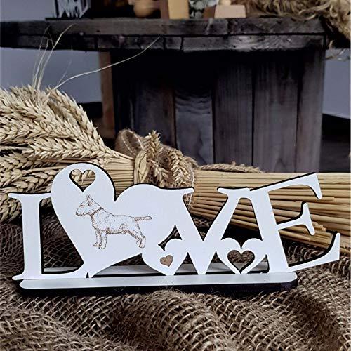Deko Aufsteller LOVE mit Herzen und Hunde Motiv « BULLTERRIER 02 » Größe ca. 20 x 8 cm - Dekoration Schild Home Accessoires - Liebe Herz Hund Hunderasse Bull Terrier