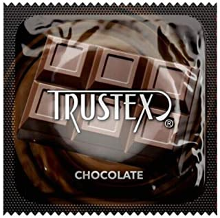 Trustex Chocolate Flavored Lubricated Latex Condoms with Silver Pocket/Travel Case-24 Count