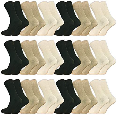 6   12   18 Paar Venensocken ohne drückende Naht – Socken ohne Gummi – Damen und Herren – Ges&heitssocken mit Komfortb& (35-38, Beigetöne, 18 Paar)