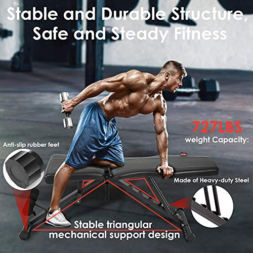 INTEY Adjustable Weight Bench, Foldable Workout Bench for Home Gym Full Body Workout, Flat Decline Inclide Adjustable Utility Bench for Weight Lifting