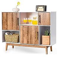 CASART Storage Cabinet, Wooden Storage Sideboard with 3 Doors & 3 open units, Modern Floor Standing ...