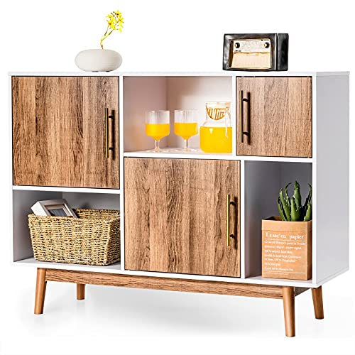 CASART Storage Cabinet, Wooden Storage Sideboard with 3 Doors & 3 open units, Modern Floor Standing Buffet TV Cupboard for Living Room, Bedroom, Sturdy, Office (White + Brown, 120 x 33 x 76cm)