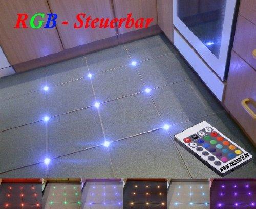 12x Fliesen RGB LED Steuerbar Fuge 5mm Licht Boden Beleuchtung Fugenlicht Fliesenlicht mit inkl. RGB Controller, 1A 12V Trafo von