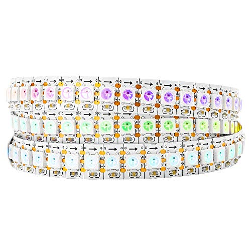 BTF-LIGHTING WS2812B RGB 5050SMD Individual Addressable 3.3FT 144(2X72) Pixels/m Flexible White PCB Full Color LED Pixel Strip Dream Color IP30 Non-Waterproof Making LED Screen, LED Wall Only DC5V