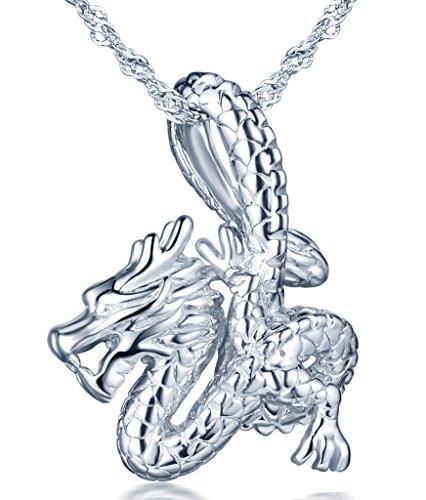 Infinito U- Moda Cool Collares Mujer de Plata de ley 925 Colgante de Dragón Collar para Mujeres Chicas con Cadena de 45 cm, Idea Regalo