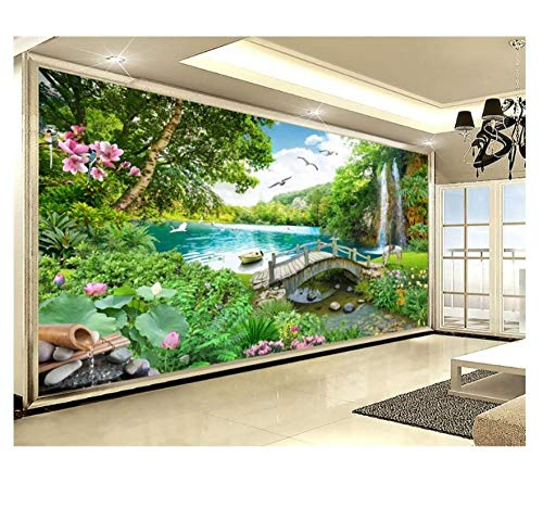CZYSKY Mural Wallpaper 3D, Lakeside, Jungle, Small Bridge, Seagull, Wall Mural Stickers, Wall Murals For Bedrooms Living Room, 200x140cm