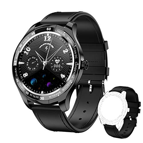 Herren Smartwatch Fitness Tracker Armband Uhr Sportuhr Smart Watch mit Herzfrequenz Schlaftracker IP67 Wasserdicht 1,3 Zoll Voller Touchscreen Kompatibel mit Android & iOS (Schwarz)