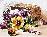 Pintar por Numeros Adultos Canasta De Flores Pintura Guiada por Numeros,Niños DIY Pintura por Números con Pinceles y Pinturas-hogar decoración de casa (sin marco) 40 x 50 cm
