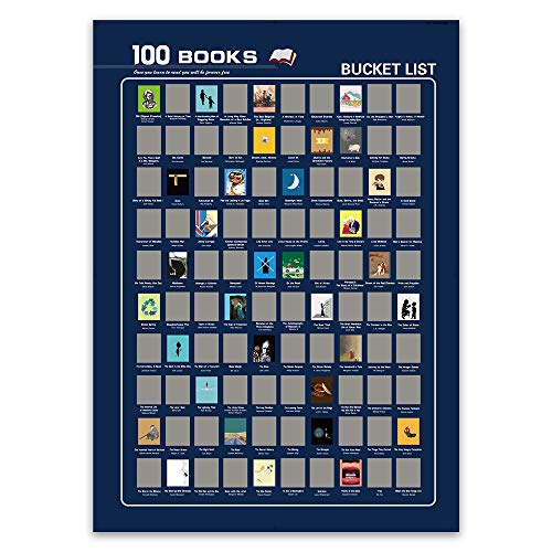 Top 100 Books Scratch Off Poster-Book Bucket List and Uncommon Goods Gifts