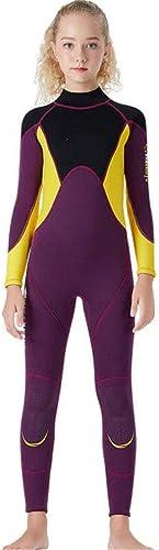 KUNGFU Maillot de Bain pour Jeunes Siamois au Chaud Costume de plongée 2.5MM Surf Snorkeling Natation Hiver A M