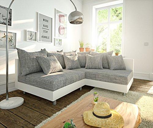DELIFE Couch Clovis modular - Ecksofa, Sofa, Wohnlandschaft & Modulsofa (Grau/Weiss, Ecksofa Rechts)