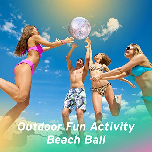 Boxgear 5 Pack Sequin Beach Ball Pool Toys Balls Giant Confetti Glitter Inflatable Clear Beach Ball Sequin Beach Ball Inflatable Glitter Beach Ball for Summer Pool Water Fun Toys for Kids Adults