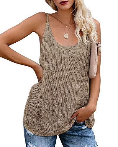 Women Oversize Scoop Neck Tank Tops Causal Sleeveless Knit Shirts Tunic Camis Loose Fashion Summer Sweater Vest Blouses Khaki