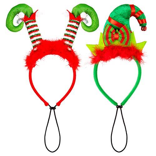 Whaline 2 diademas para perros navideos, disfraz de mascota para la cabeza de elfo, diadema para gato, perro, cachorro, envoltura de cabeza esponjosa con lazo, color rojo y verde