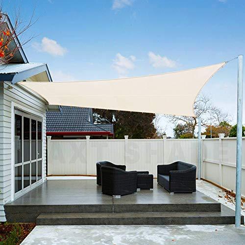 AXT SHADE Toldo Vela de Sombra Rectangular 3,5 x 5 m, protección Rayos UV Impermeable para Patio, Exteriores, Jardín, Color Crema