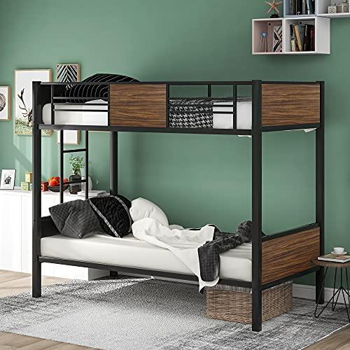 Mingfuxin Litera individual, marco de cama de 2 x 3 pies de altura con moderno metal y MDF, listones fuertes y escalera, barandilla envuelta completa para niños, adolescentes y adultos