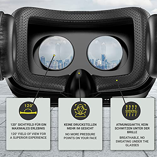 Hi-SHOCK Premium VR Brille - X4 - Gaming Brille für 3D Spaß - VR Headset mit integrierten Kopfhörern für 4,7 - 6,2 Android Smartphones - Ideal für Virtual Reality 360 Videos