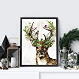 HUANGXLL Woodland Animal Deer Print Winter Holly Berries Decoración navideña para Vacaciones Póster Arte de la Pared Pintura en Lienzo Farmhouse Decor-40x50cm Sin Marco