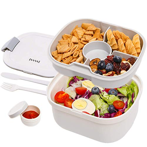 INVVNI To Go Salad Lunch Container 58-OZ Large Salad Bowl with 4-Compartment Bento-Style Tray for Salad Toppings and Snacks,Built-In Reusable Fork、Knife (White)